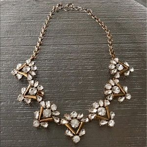 J. Crew White Crystal Clear Statement Necklace